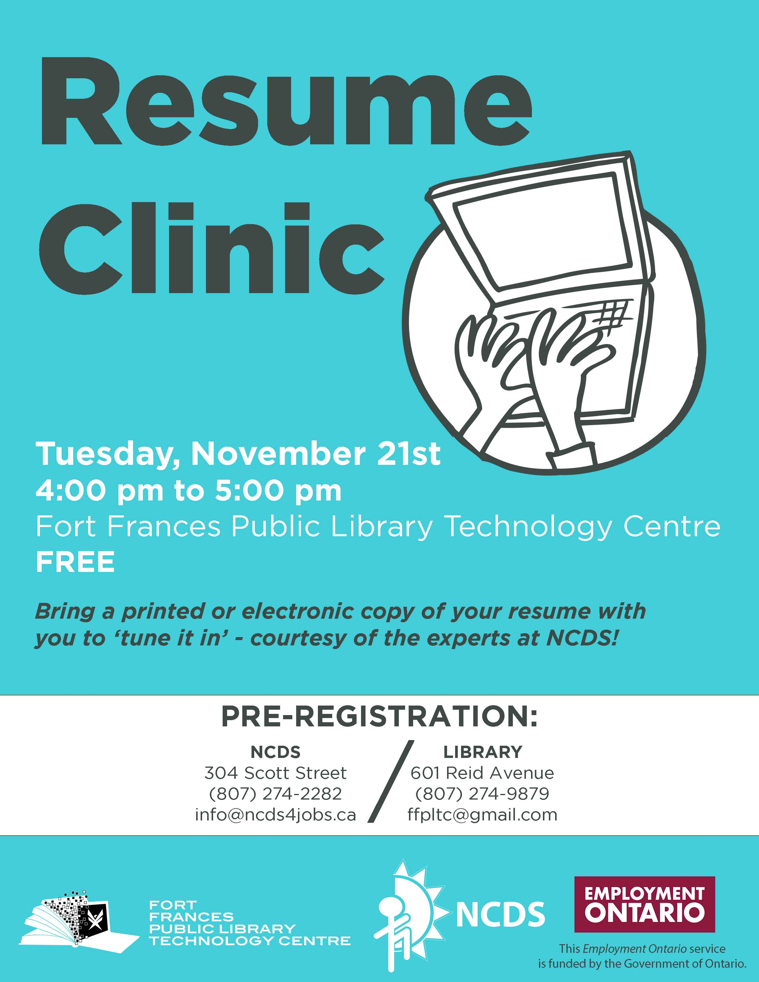 Fort Frances Public Library Technology Centre  The Resume Clinic
